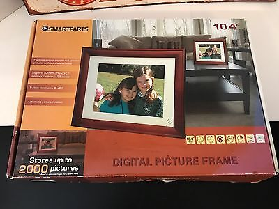 Smart Parts Digital Picture Frame with Walnut Finish 10.4inch screen new in box