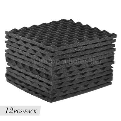 12 PACK Wave Acoustic Studio Soundproofing Foam Wall Tiles 12'' x 12'' Grey