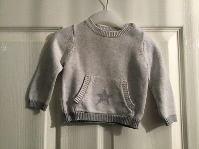 The Little White Company Boy Grey Jumper Age 0-3 Months