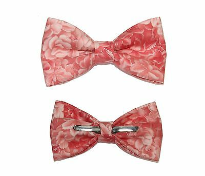 New Men's Peach Roses Floral Clip-On Cotton Bow Tie