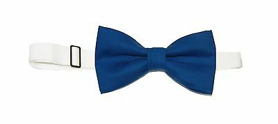 New Men's Pacific Blue Pre-Tied Cotton Bow Tie On Adjustable Twill Neck Strap