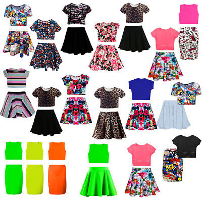 Kids Girls Neon Skater Skirt and Cropped Belly Top Set  Age 7 8 9 10 11 12 13 Ye