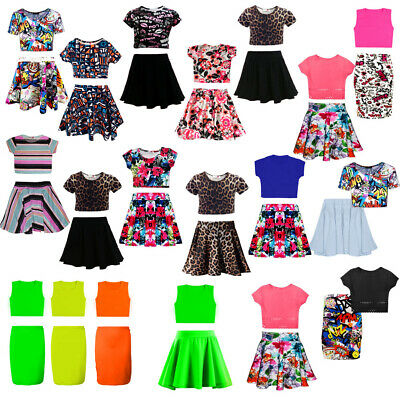 NEW Kids Girls Neon Skater Skirt and Cropped Belly Top Set CHILDREN