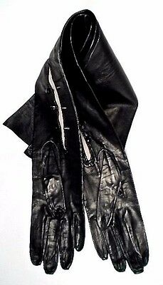 1950's Launder Black Kid Leather Opera Gloves ~ Size 7 ~ Never Worn
