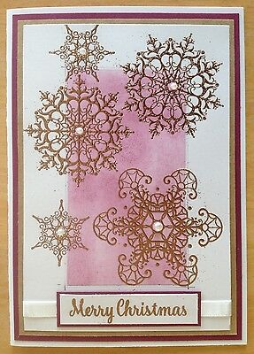 Handmade Christmas card; Snowing - Purple with rose gold.