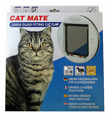 animal de compagnie Mate Large verre blanc chat chien Clapet Auto Fixation
