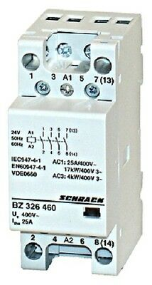Modular contactor 25A in AC-1, 4NO contacts, coil voltage 24VAC, width 2M