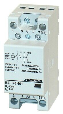 Modular contactor 25A in AC-1, 4NO contacts, coil voltage 230VAC, width 2M