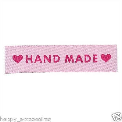50 Label Etiketten Applikationen - Handmade Hand Made - ❤Hand Made❤ - Rosa - NEU