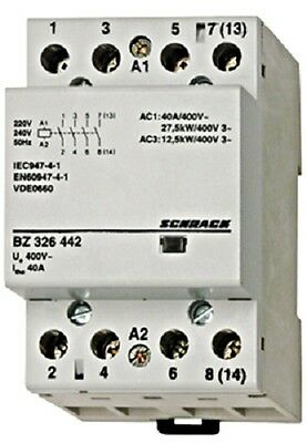 Modular contactor 40A in AC-1, 4NO contacts, coil voltage 230VAC, width 3M
