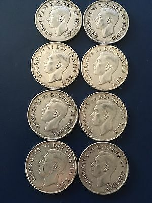 Canadian Silver 1940s-1950s 50cents (lot Of 8) Great Condition Halves