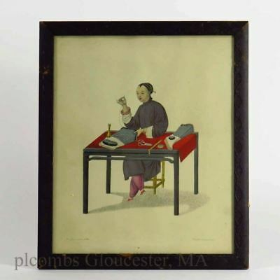 Chinese Framed Print Of Woman At Desk