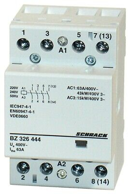 Modular contactor 63A in AC-1, 4NO contacts, coil voltage 230VAC, width 3M