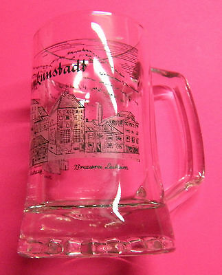 """2German/Austrian beer mugs glass (crystal??)6.5"""" and 4.75"""". Souvenirs"""
