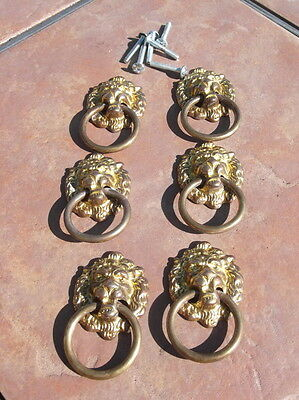 Set of 6 Cast Antiqued  Brass Lions Head Ring Pull  Drawer Handles
