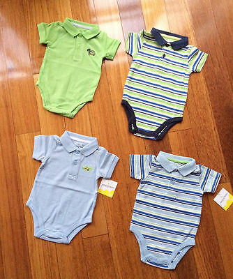 NEW Baby Boy 2 button Polo Short Sleeve Bodysuit Size 0-3-6-9-12-18-24 months