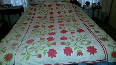 Antique Red and Green Quilt TOP 1800'S