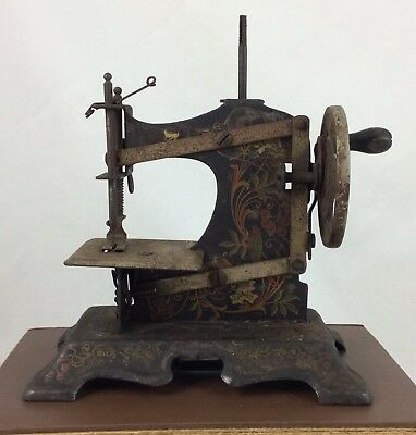 Antique Sewing Machine W/ Hand Crank - Ornate German For Children - Numbered