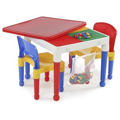 Tot Tutors 2-in-1 Plastic Building Block Compatible Activity Table and 2 Chairs