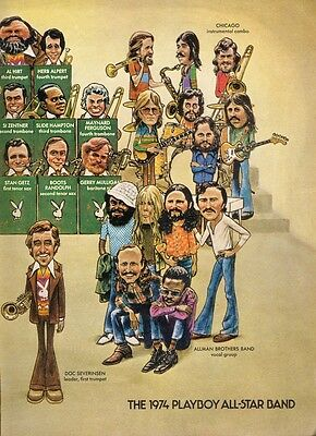 The 1974 Playboy All-Star Band 2 Page Cartoon Sketch Magazine Print - Ad