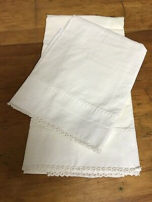 "Set Of Vintage White Cotton Pillowcases/hand Embroidered/eyelet Borders 29""x 20"""