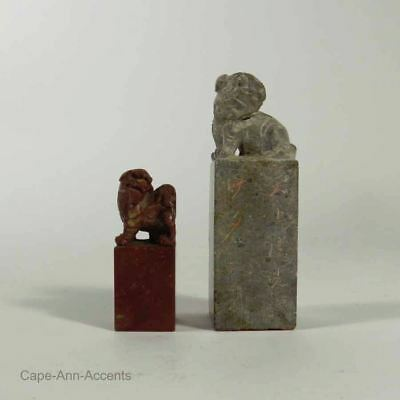 2 Chinese 20th.c Hardstone Carved Seals