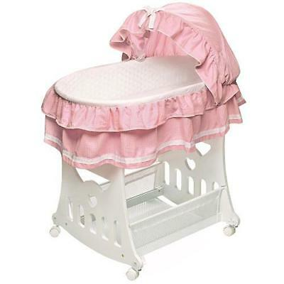 Badger Basket Portable Bassinet 'n Cradle with Toybox Base - Pink Waffle Ruffled