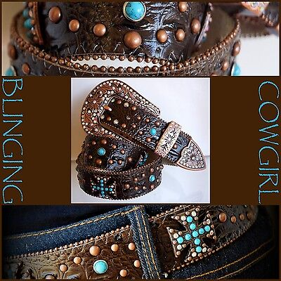 Ladies Western Leather Belt - Turquoise Cross Concho Bronze Buckle Cowgirl Bling