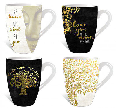 Coffee Mug Tree of Life Black Gold Inspirational Mugs Cups Tea Porcelain Set/4