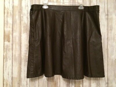 Forever 21+ Women's Flare Brown Faux Leather Short Mini Skirt Size 3X