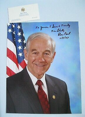 Ron Paul signed autographed 8x10 Photo to James with Original Business Card