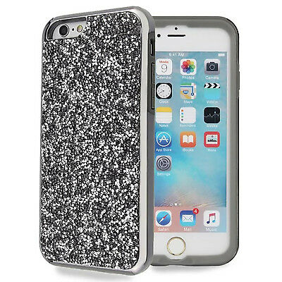 (Black) For iPhone 6/6s Bling Glitter Rhinestone Protective Hard Back Case Cover