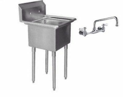 One Compartment 1 Stainless Steel Utility Prep Mop Sink 22 X 20 with Faucet By