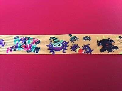 HAPPY HALLOWEEN Grosgrain RIBBON 1Mtr X 22mm For Craft Hair Gifts Cakes