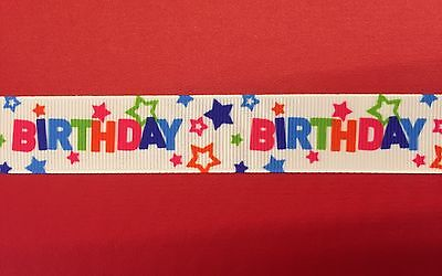 HAPPY BIRTHDAY STARS Grosgrain Ribbon 1 Metre X 22mm For Craft Hair Gifts Cakes