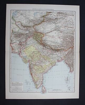 1890 - Indien India Neu-Delhi Madras Lahore Asien Asia Karte map Lithographie