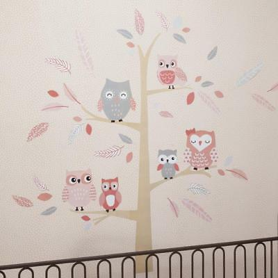 Lambs & Ivy(R) Family Tree Coral/Gray/Gold Owl Jumbo Wall Appliques