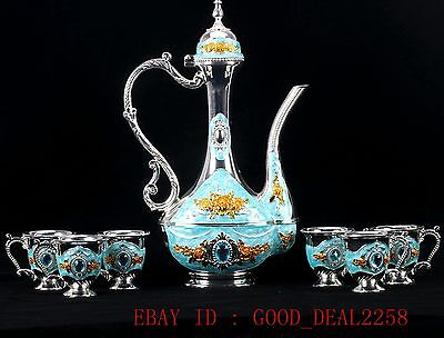 Chinese Decorated Cloisonne Handwork Carved Flower& drill Teapot Cup Set JTL010