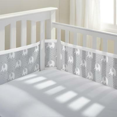 BreathableBaby(R) Classic Breathable(R) Peaceful Elephant Gray Mesh Crib Liner