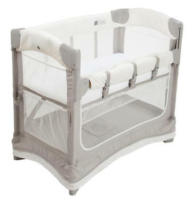 Arm's Reach Concepts Ezee Mini Luxe 2-in-1 Co-Sleeper Bedside Bassinet - White/G