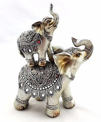 Elephant with Baby Calf Statue Figurine Ornament Sculpture Silver Finish *21 cm*