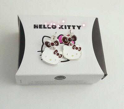 Sanrio Hello Kitty Silver-Plated Red or Purple Diamante Earrings BNIB Licensed