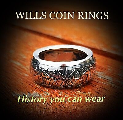 Australian 1966 Round Fifty Cent. Handmade Coin Ring. Size Australian S To Z+2