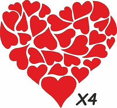4 Valentine Hearts  Window Stickers  decal For Retail Shop, Florist ,gift shop,