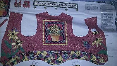 Black Eyed Susan Vest SEW fabric panel w instructions quilting sewing applique