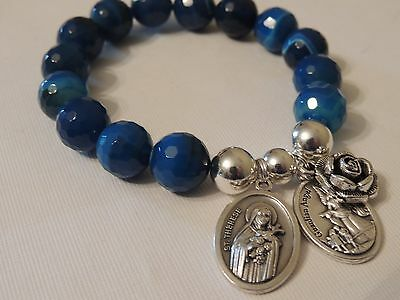 St Therese-Guardian Angel & Rose Charm-12Mm Blue Agate Faceted Gemstone Bracelet