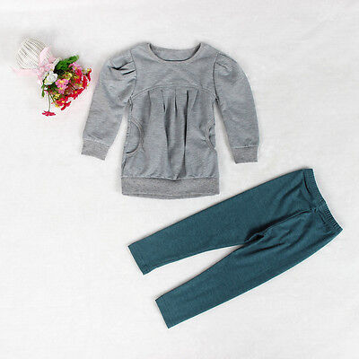 Cute Fashion Kids Girls Outfit Clothes Warm Long Sleeve T-shirt +Long Pants 1Set