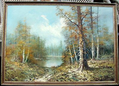 Large unsigned framed oil on canvas/board of a billabong in the forest