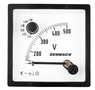 Voltmeter, 72x72mm, 500V, AC, with inbuild selector switch, Accuracy Class 1.5