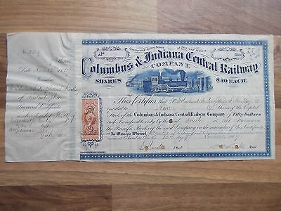 "Aktie ""Columbus & Indiana Central Railway Company – 9 Shares 1867"""